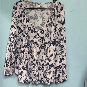 White Blue Floral Blouse